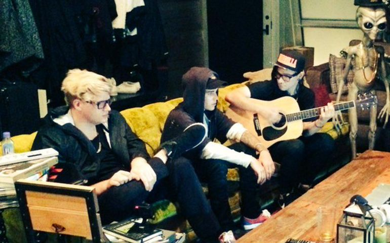 Skrillex, Justin Bieber and BloodPop in the studio making music together in the studio