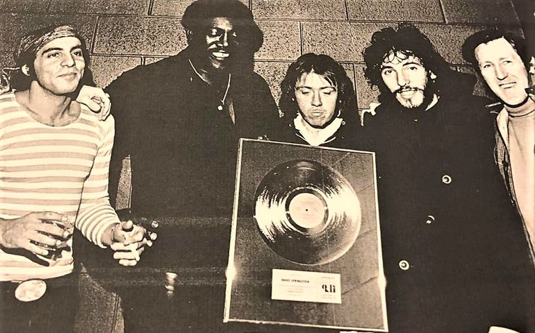 Stevie Van Zandt, Clarence Clemons, Danny Federici, Bruce Springsteen, and Jack Robertson. Pic - daughter Stephanie Robertson's Facebook page