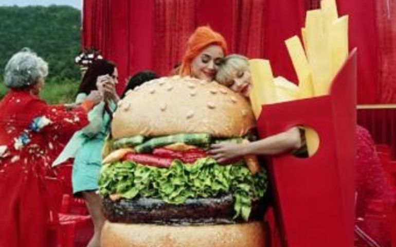 "Katy Perry and Taylor Swift in the ""You Need To Calm Down"" video — screencap via Taylor Swift YouTube channel"