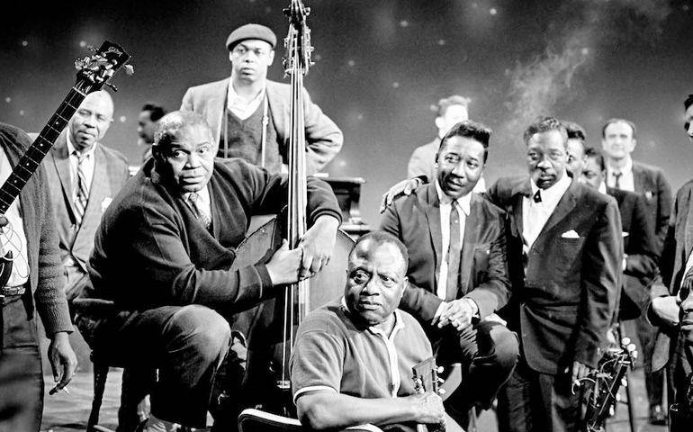 The 1966 summit. L-R Big Joe Williams, Bukka White, Willie Dixon, Muddy Waters, Sunnyland Slim, James Madison, Mabel Hillary, James Cotton.