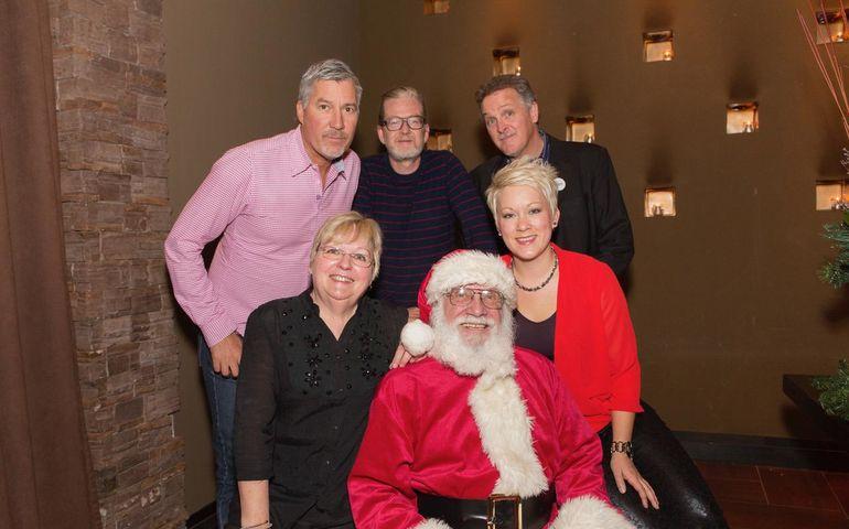 Barry Roden photo from 2016 Schmoozefest. Clockwise from left: Derrick Ross, Brendan Canning, Bernie Breen, Amanda Power, Santa, Sheila Hamilton.