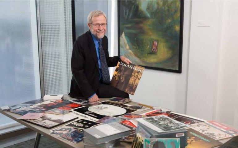 Tom Hickerson with some of the EMI Canada treasure trove. Photo: Riley Brandt