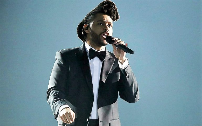 The Weeknd performing on last night's Grammy show.