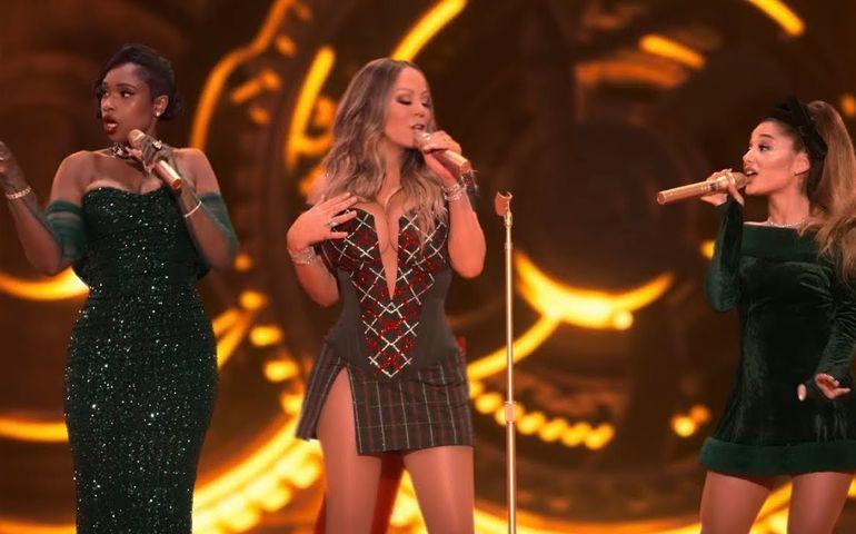 YouTube image featuring Jennifer Hudson, Mariah Carey and Ariana Grande.