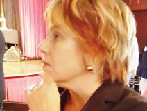 Executive VP Amy Terrill attentive in discussion at Music Canada's AGM in Toronto yesterday