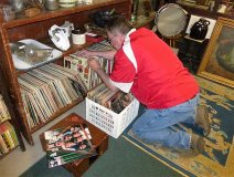 Harris Institute prof Bob Roper goes digging for treasures at the Interstate Antique Mall in North East, PA. But did he find that rare Frank Schacksfield album? -- Picture posted to Bob's Facebook page.