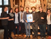 "In NYC, Glassnote Records' Daniel Glass (centre) presenting The Strumbellas with their US gold single for ""Spirits."" Joanne Setterington is second from left"