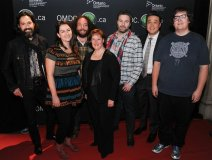 The Strumbellas with OMDC's Karen Thorne-Stone (middle), Mark Sakamoto (left)  and Trinity-Spadina MPP Han Dong (second from right).