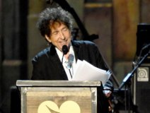 Dylan pictured giving his acceptance speech as 2015 MusiCares Person of the Year