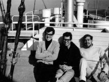 Radio Caroline South DJs Errol Bruce, Mike Allen & Paul Noble in the winter sunshine.