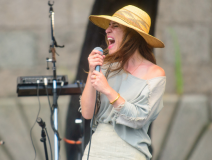 Feist performs at the 2013 Newport Folk Festival. Adam Kissick for NPR
