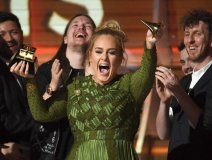 Adele celebrating at this year's Grammy Awards