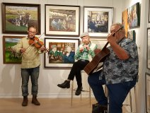 Irish Rover turned painter Will Millar with Ian Bell on guitar and Ben Rogers on fiddle at the True North Art Gallery in Waterdown, ON two weekends back.