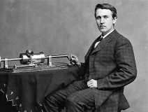 Thomas Edison with his revolutionary phonograph