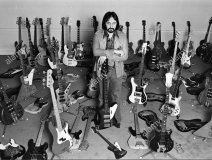The Who's John Entwistle with his bass collection