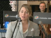Minister of Canadian Heritage, the Honourable Melanie Joly, at a Canada 150 music event
