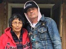 Gord Downie (right) visited Pearl Wenjack at her home in Marten Falls First Nation in September in advance of the launch of his Secret Path project, devoted to Pearl's brother Chanie (Charlie) Wenjack. (Alvin Fiddler/Twitter)