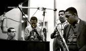 Photo (l-r): Bill Evans, Miles Davis, Cannonball Adderley, John Coltrane