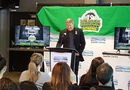 Country Thunder marketing director Gerry Krockak announces the lineup for the Humboldt Broncos Tribute Concert. Pic: Keenan Sorokan-650 CKOM.