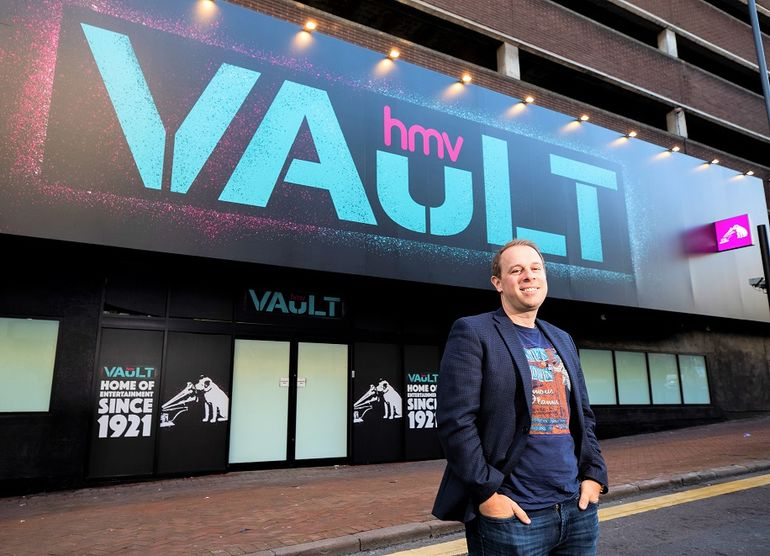 Doug Putman outside Birmingham's HMV Vault store. Pic: Fabio de Paola
