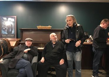 (l-r). Bernies Fiedler and Finkelstein, Gordon Lightfoot, backstage in Belleville. Facebook photo