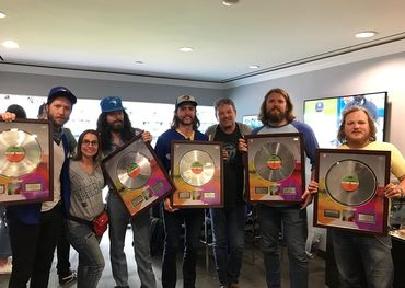 The Sheepdogs with Warner Music Canada president Steve Kane