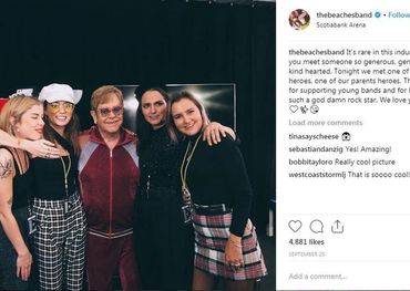 The Beaches with fan Elton John in Toronto  Instagram photo