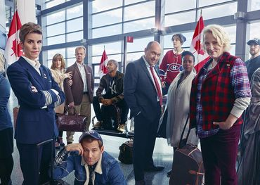 The cast of Come from Away: Kendra Kassebaum, Jenn Colella, Sharon Wheatley, Lee MacDougall, Chad Kimball, Rodney Hicks, Joel Hatch, Petrina Bromley, Q. Smith, Astrid Van Wieren, Geno Carr, and Caesar Samayoa. Pic: Mark Seliger