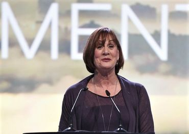 Denise on stage delivering her acceptance speech.