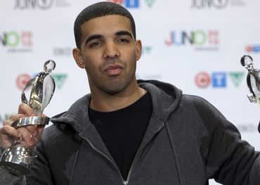 Drake poses with his 2010 Juno Awards in St. John's. Pic: Ryan Remiorz, CP