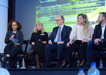 (L-R) - Nam Kiwanuka, Loreena McKennitt, Dr. George Barker, Maia Davies, Ian MacKay (photo: Guntar Kravis)