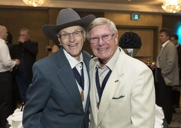 Ed Preston (r) with fellow Canadian Country Hall of Famer Johnny Burke in 2016