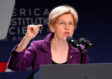 Elizabeth Warren making her point. Pic: AP