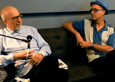 Jonathan Gross (left) interviews Nicholas Jennings