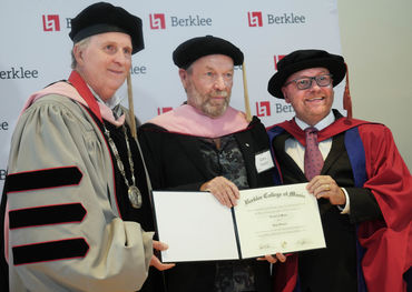 Berklee President Roger Brown, Dr Gary Slaight and Berklee's Academic Affairs Strategic Initiatives VP Dr Joe Bennett. Photo: Bill King