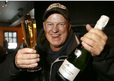 The soon to retire morning man celebrates. Pic: Darren Makowichuk, Postmedia