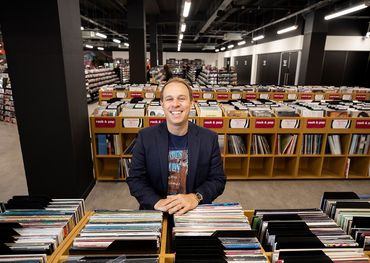 Owner Doug Putman in his HMV Vault store. Photo: Fabio De Paola