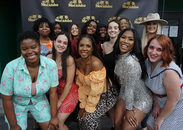 This year's performers at Honey Jam launch event. Front and centre (orange and white top), founder Ebonnie Rowe