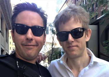 Jon (left) with Brit Daniels of Spoon. Photo Credit: Heather Wright (his wife)