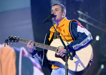 Justin Bieber on stage at One Love Manchester