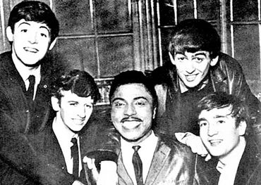 Little Richard with the Fab Four. Pic: Little Richard, Instagram