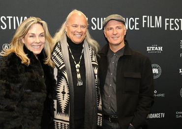 Lynyrd Skynyrd guitarist Rickey Medlocke (centre) with directors Catherine Bainbridge and Alfonso Maiorana