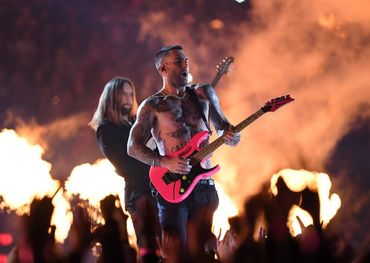 Maroon 5 at Super Bowl. Pic: Christopher Hanewinckel, USA Today