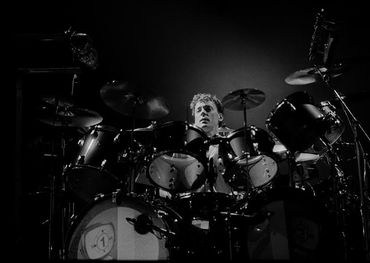Neil Peart w/Rush - Power Windows tour March 1986. Photographs: Patrick Harbron