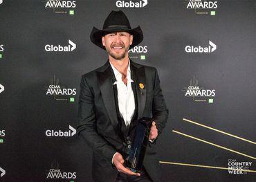 Slaight Music Humanitarian Award winner Paul Brandt backstage at the CCMAs