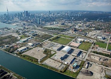 Aerial view of the 33 acre Pinewood Studios complex in Toronto