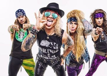 Steel Panther (L to R): Stix Zadinia, Michael Starr, Lexxi Foxx, Satchel — photo credit: David Jackson.