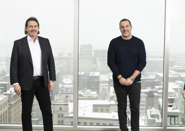 L-R: Pierre Karl Péladeau, President and CEO of Quebecor, Philippe Archambault, Audiogram's GM and Martin Tremblay, Quebecor Sports and Entertainment COO. Pic Credit: Éric Myre.