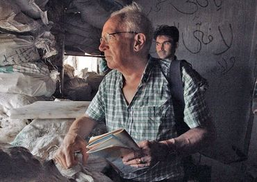 The late Robert Fisk in a war bunker. Pic courtesy of TIFF
