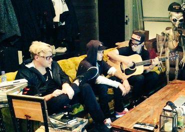 Skrillex, Justin Bieber and BloodPop in the studio making music together in the studio